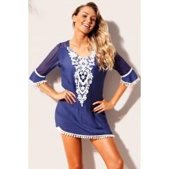 Ojas Pom Pom Trim Beach Dress - Blue